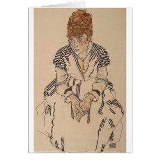 Cartão A irmã do artista de Egon Schiele- na lei