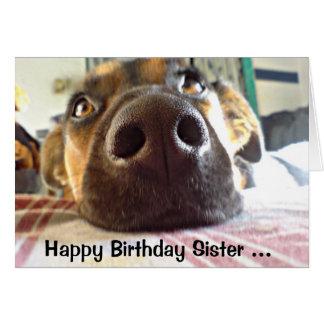 Cartão A irmã que do feliz aniversario EU O CHEIRO é seu
