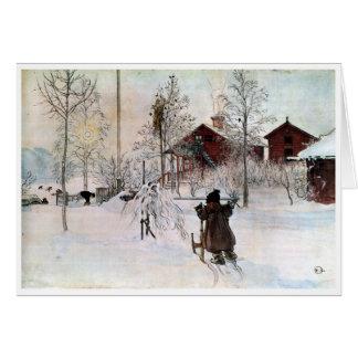 Cartão A jarda e o Lavagem-House, Carl Larsson
