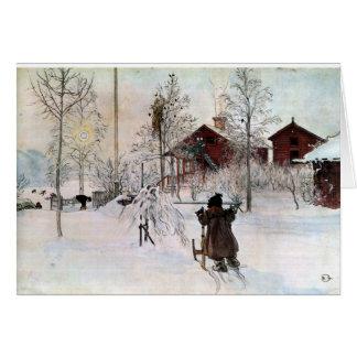 """Cartão """"A jarda e o Lavagem-House"""" por Carl Larsson"""