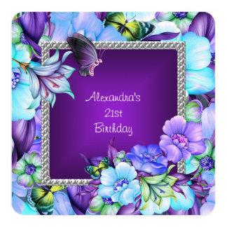 Cartão A jóia de prata roxa elegante floresce o