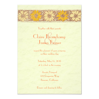 Cartão A juta rústica floresce o casamento