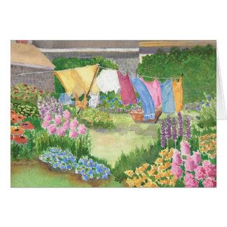 Cartão A lavanderia de Kathy na ilha Maine Watercolo de