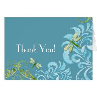 Cartão A libélula roda obrigado floral moderno do rolo