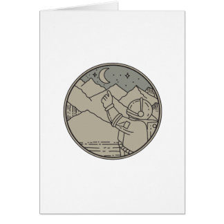 Cartão A lua do astronauta Stars a mono linha do círculo