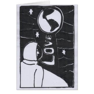 Cartão À lua e à parte traseira