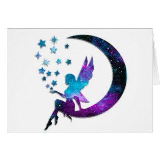 Cartão A lua feericamente Stars o roxo
