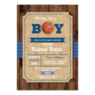 Cartão A madeira azul do chá de fraldas do basquetebol oh
