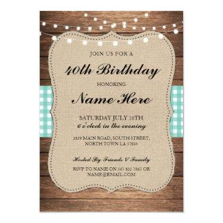 Cartão A madeira rústica da 50th verificação da festa de