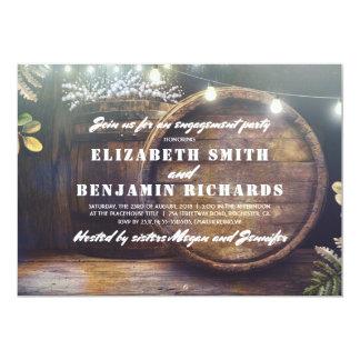 Cartão A madeira rústica ilumina a festa de noivado da