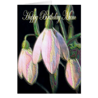 Cartão A mãe do aniversário, neve pastel deixa cair o