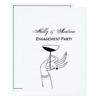 Cartão A Mão Holding Champagne Vidro do art deco da