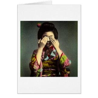 Cartão A mão velha de Japão do vintage tímido da gueixa