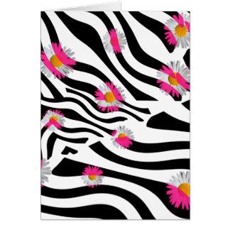Cartão A margarida cor-de-rosa floresce listras brancas