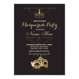 Cartão A máscara do ouro do aniversário do partido do