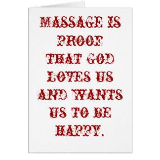 Cartão A massagem é prova que o deus nos ama vazios