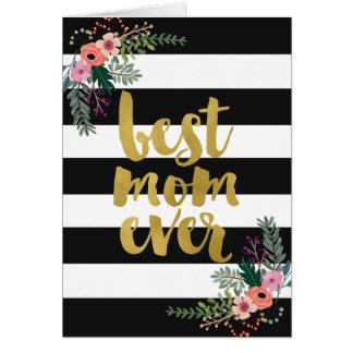 Cartão A melhor folha de ouro da mamã nunca floral