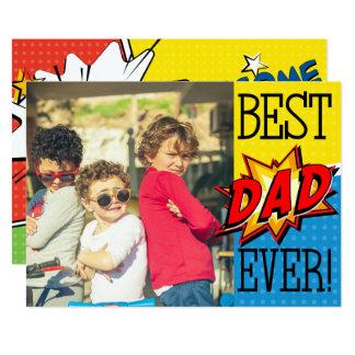 Cartão A melhor foto do costume do super-herói do pai