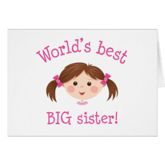 Cartão A melhor irmã mais velha dos mundos - cabelo