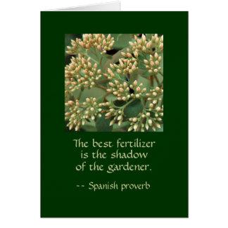 Cartão A melhor sombra do adubo do jardineiro. BB DO