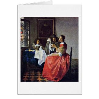 Cartão A menina com um Wineglass. Por Johannes Vermeer