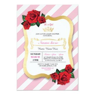Cartão A menina cor-de-rosa da coroa da listra