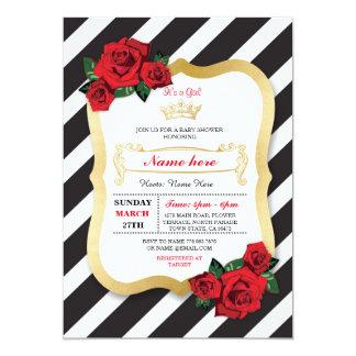 Cartão A menina da coroa do rosa do preto da listra do