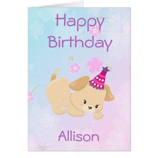 Cartão A menina do feliz aniversario personaliza