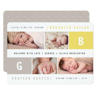 Cartão A menina do menino dos monogramas do bebê junta o