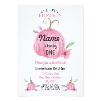 Cartão A menina do rosa da flor da abóbora do aniversário