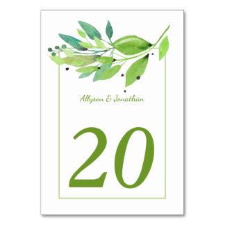 Cartão A mesa das folhas da aguarela da brisa do verão