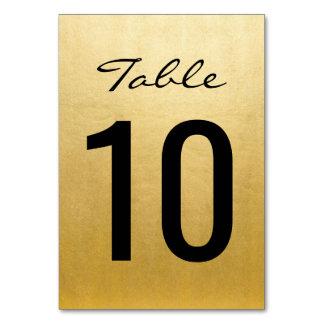 Cartão A mesa elegante do casamento do ouro numera