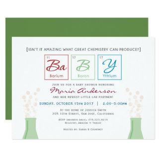 Cartão A mesa periódica do chá de fraldas da química