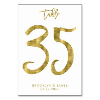 Cartão A mesa Wedding numera o efeito número 35 da folha
