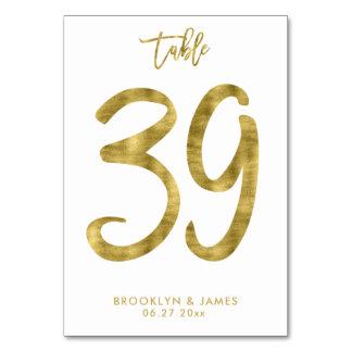 Cartão A mesa Wedding numera o efeito número 39 da folha
