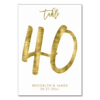 Cartão A mesa Wedding numera o efeito número 40 da folha
