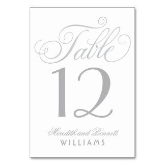 Cartão A mesa Wedding numera | o monograma de prata do