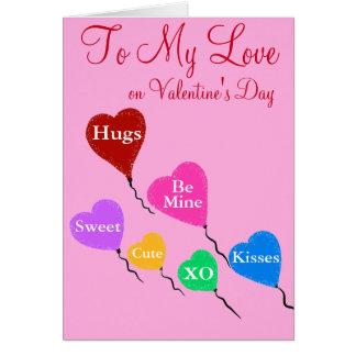 """Cartão A meus corações do dia dos namorados do amor 5"""" x7"""