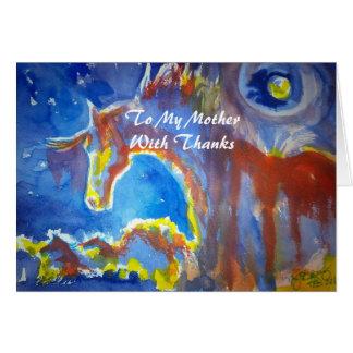 Cartão A minha mãe, com obrigados - design do cavalo