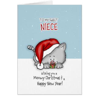 Cartão A minha sobrinha doce - gato Christmascard