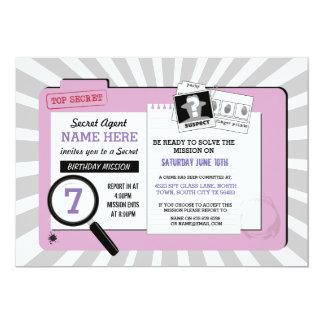 Cartão A missão de PinkDetective do aniversário do agente