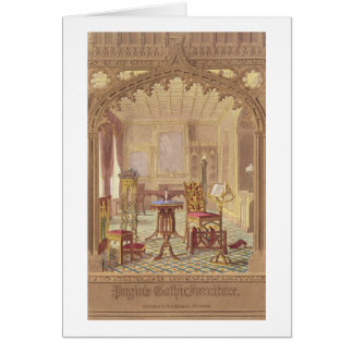 Cartão A mobília gótico de Pugin, por Augustus Charles