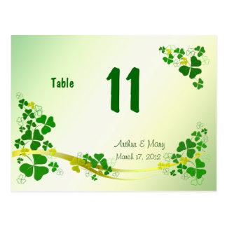 Cartão à moda do número da mesa do trevo