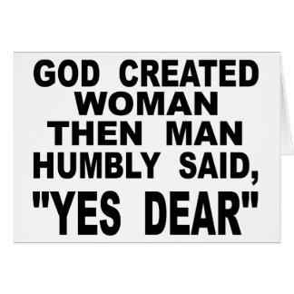 Cartão A mulher criada deus equipa então disse humilde