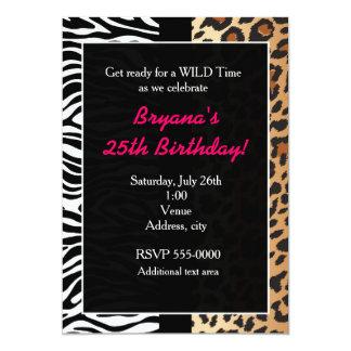 Cartão A multi zebra animal do leopardo da chita do