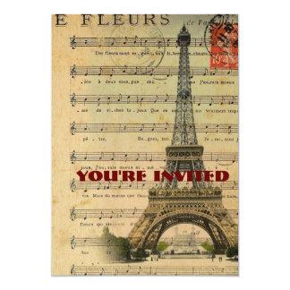 Cartão A música do vintage nota a torre Eiffel de Paris