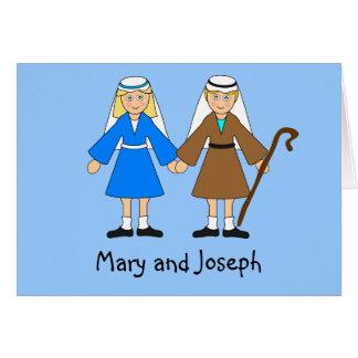 Cartão A natividade das crianças - Mary e Joseph (louro)