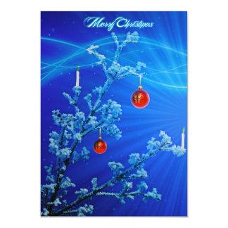 Cartão A neve elegante azul Stars o Feliz Natal da árvore