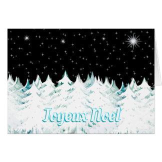 Cartão A noite da véspera de Joyeux Noel Stars árvores