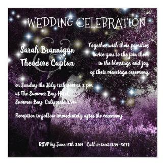 Cartão A noite do carvalho ilumina o casamento